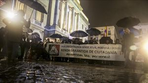 Manifestación en Barcelona a favor de la renta garantizada, en diciembre de 2016.