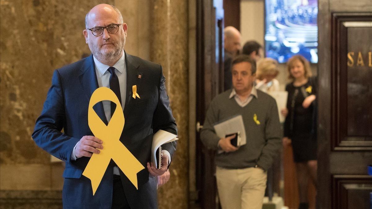 El portavoz adjunto de JxCat, Eduard Pujol, este miércoles en el Parlament.