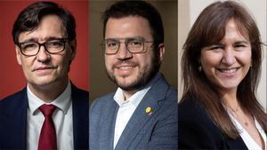 Salvador Illa, Pere Aragonés y Laura Borràs