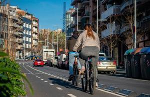 Carril bici en el paseo Llorenç Serra de Santa Coloma de Gramenet.