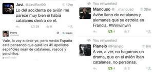 Algunos ejemplos de tuits catalanófobos tras la tragedia de Germanwings.
