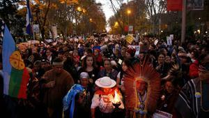 Manifestantes en la Marcha por el Clima de Madrid, el 6 de diciembre de 2019.