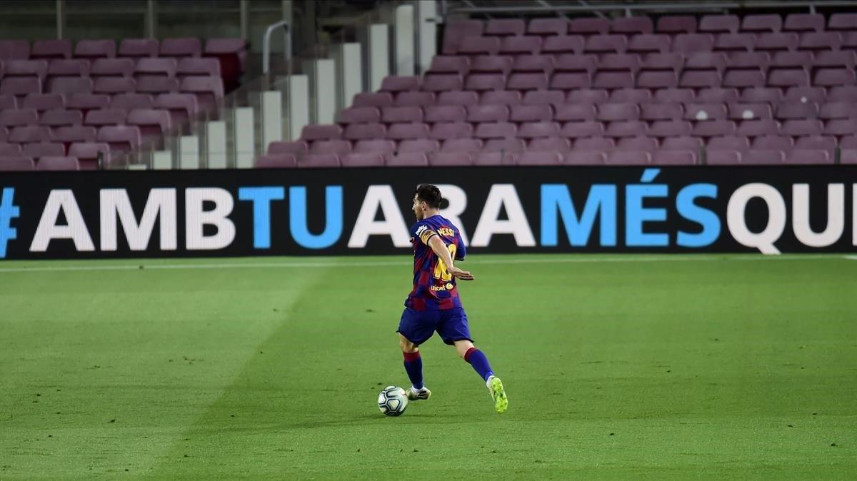 Messi, en su último partido de Liga en el Camp Nou ante Osasuna.