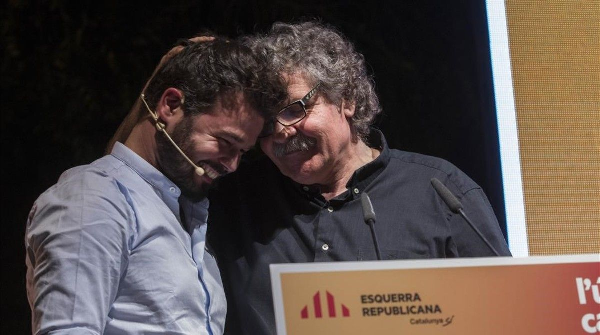 Gabriel Rufián y Joan Tardà, el pasado jueves, en el arranque de la campaña de ERC enBarcelona.