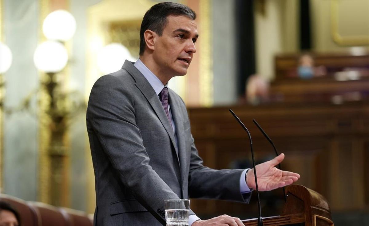 Pedro Sánchez, durante su intervención en el Congreso.