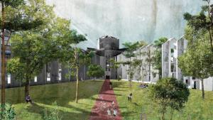 Recreación de uno de los patios de la Modelo, según el proyecto del Ayuntamiento de Barcelona.