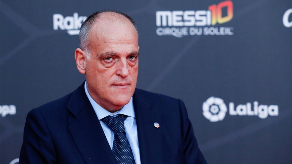 Javier Tebas, en su visita a Barcelona para el estreno del show de Messi del Cirque du Soleil.