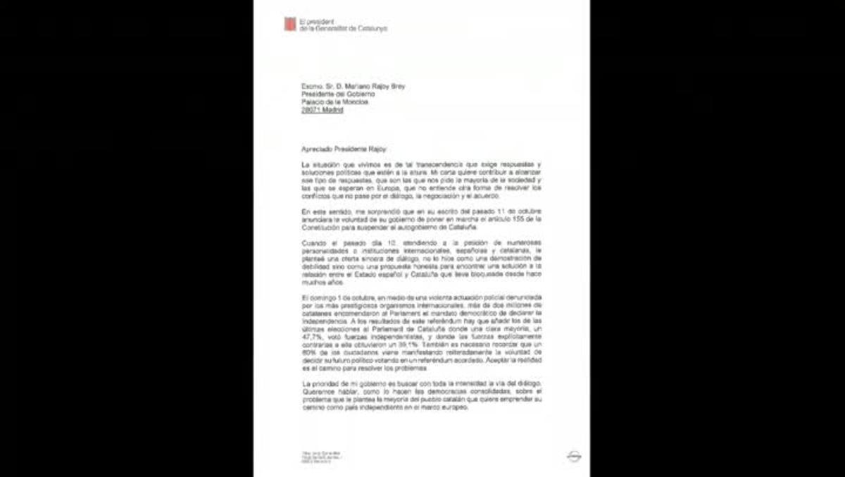 Esta es la carta que el presidente de la Generalitat ha enviado al presidente del Gobierno, Mariano Rajoy.