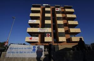 Un edificio de la Sareb en Salt que ha sido objeto de ocupaciones.