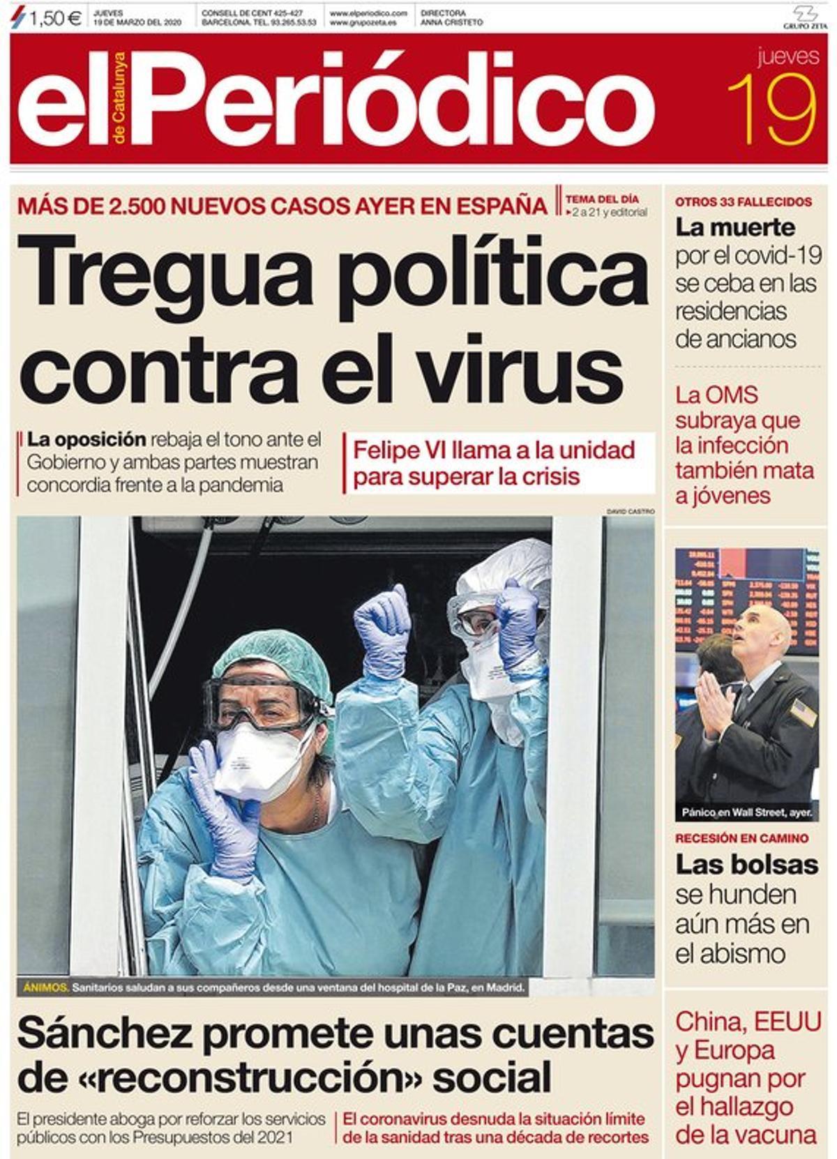 La portada de EL PERIÓDICO del 19 de marzo del 2020.