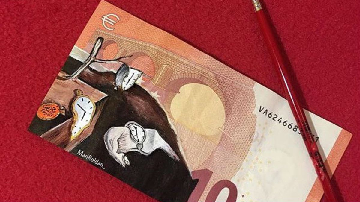 Los icónicos relojes derretidos de Dalí, en un billete de 10 euros