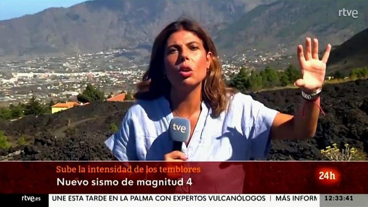 El terremoto de La Palma sorprende a una periodista de TVE en directo