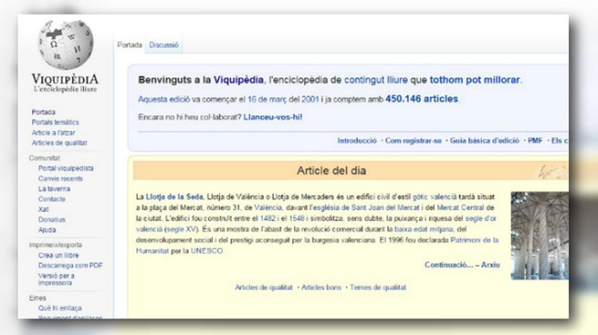 La Vikipèdia ya ha superado los 450.000 artículos publicados.