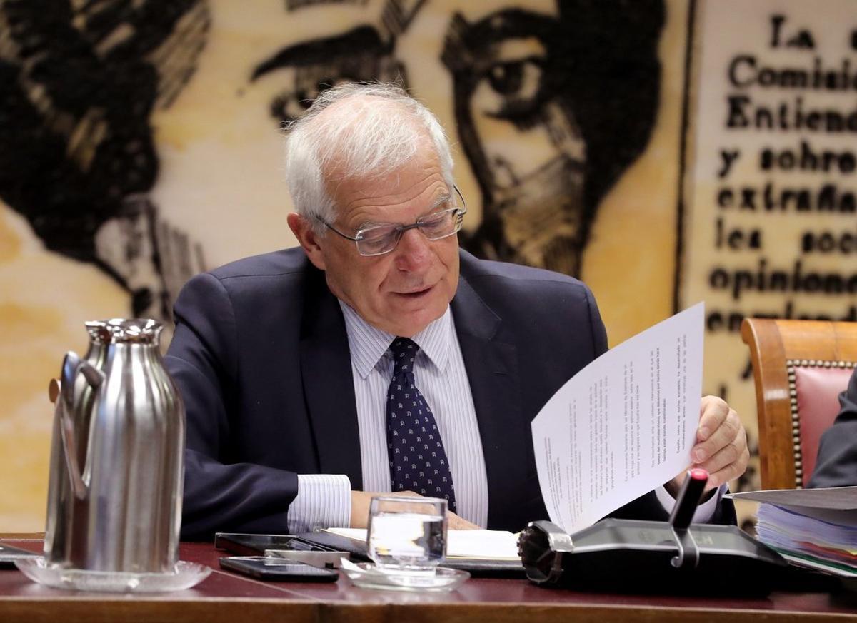 El ministro de Asuntos Exteriores, Josep Borrell, enla Comisión de Asuntos Exteriores del Senado.