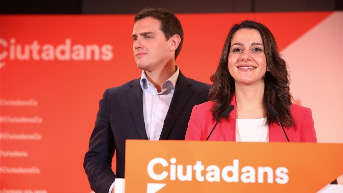 Comparecencia de Albert Rivera e Inés Arrimadas para analizar los resultados electorales.