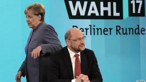 Angela Merkel yMartin Schulz el pasado mes de septiembre en Berlín.