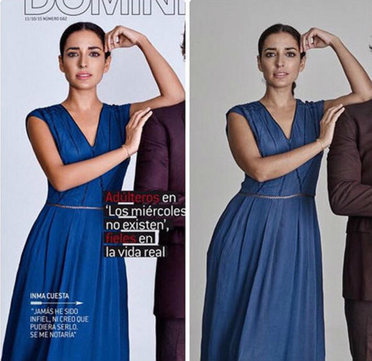 Inma Cuesta en las imágenes de la polémica: a la izquierda, en la portada de 'Dominical', a la derecha, la fotografía original para la que la agencia pidió correcciones.