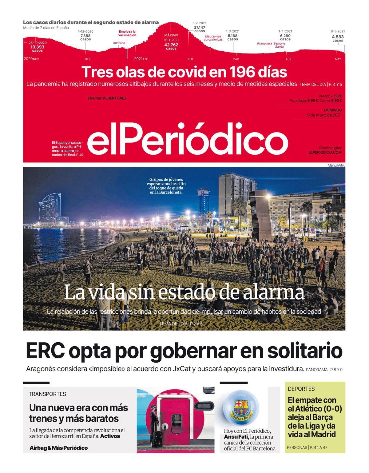 La portada de EL PERIÓDICO del 9 de mayo de 2021