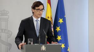 El ministro de sanidad, Salvador Illa, durante la rueda de prensa en la que han informado de la reunión del jefe del Gobierno, Pedro Sánchez, con los presidentes autonómicos, el 17 de mayo.