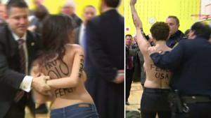 Momento en que dos activistas de Femen irrumpen en topless en el centro de votación donde ha de votar Donald Trump.