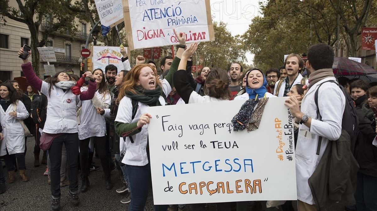 Manifestación de médicos de primaria en noviembre del 2018.