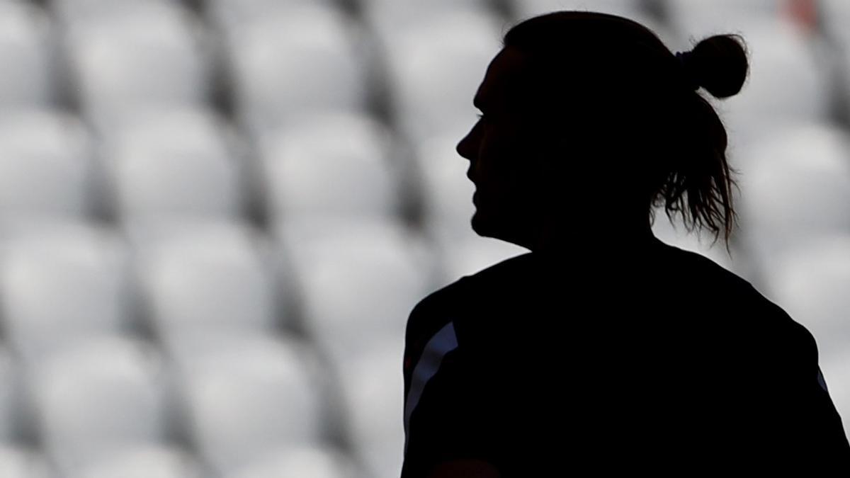 La silueta de Antoine Griezmann en el último entrenamiento de Francia en el Allianz Arena de Múnich.