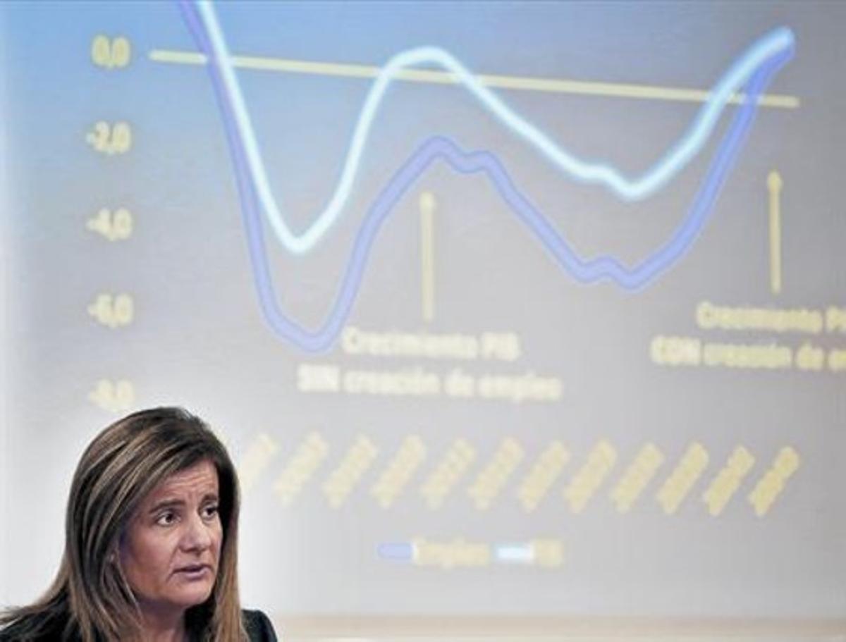 La ministra Fátima Báñez, ayertras el Consejo de Ministros.