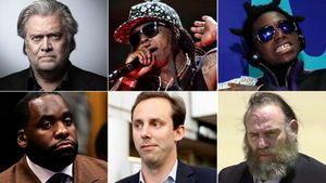 Steve Bannon, Lil Wayne, Kodak Black, Kwame Kilpatrick, Anthony Levandowski, Sholam Weiss, de izquierda a derecha y de arriba a abajo.