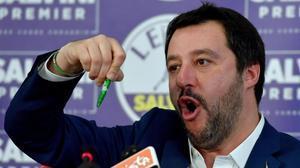 Matteo Salvini, en rueda de prensa para valorar los resultados electorales.