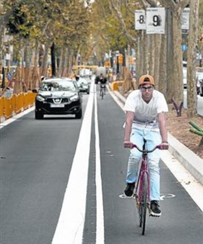Bicis por el carril ciclista de la Diagonal, el martes pasado.