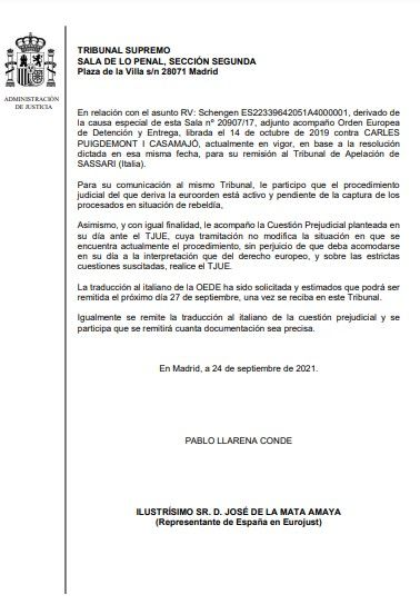 Oficio del juez Pablo Llarena al representante de Eurojust (24/09/2021)