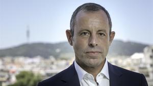 Sandro Rosell, expresidente azulgrana, en la presentación de su libro 'Un fuerte abrazo'.