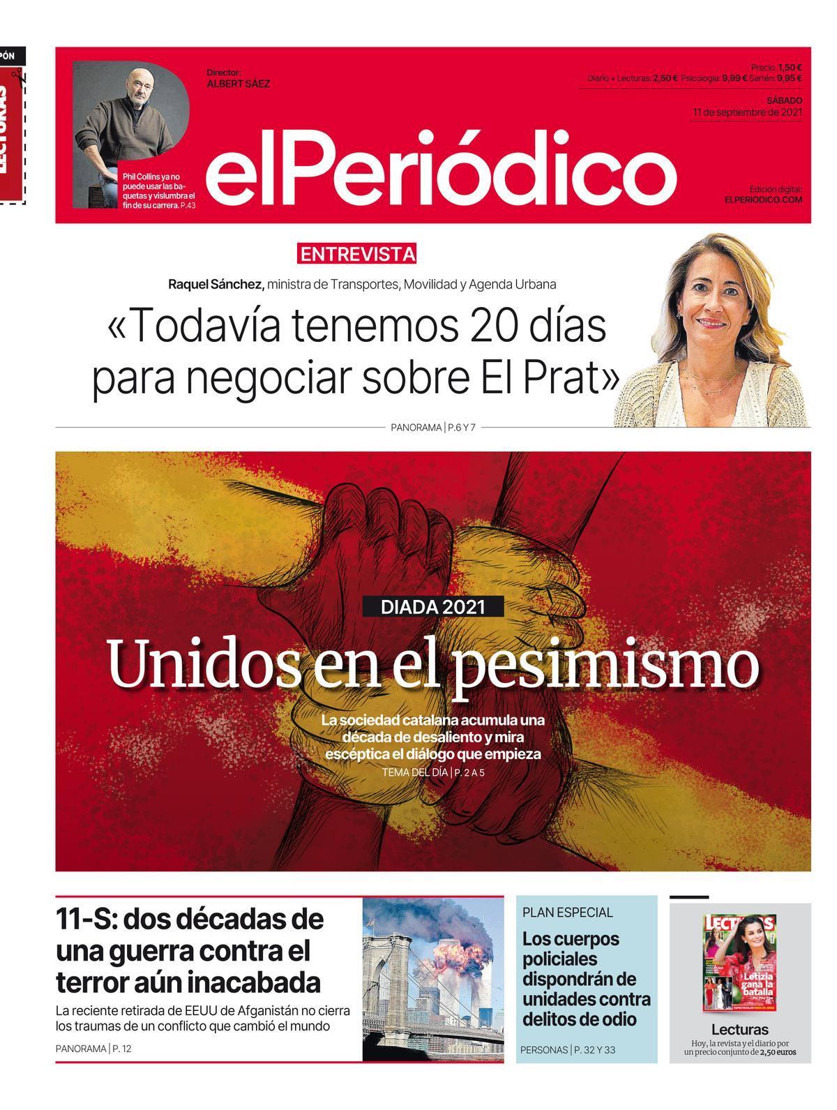 La portada de EL PERIÓDICO del 11 de septiembre del 2021