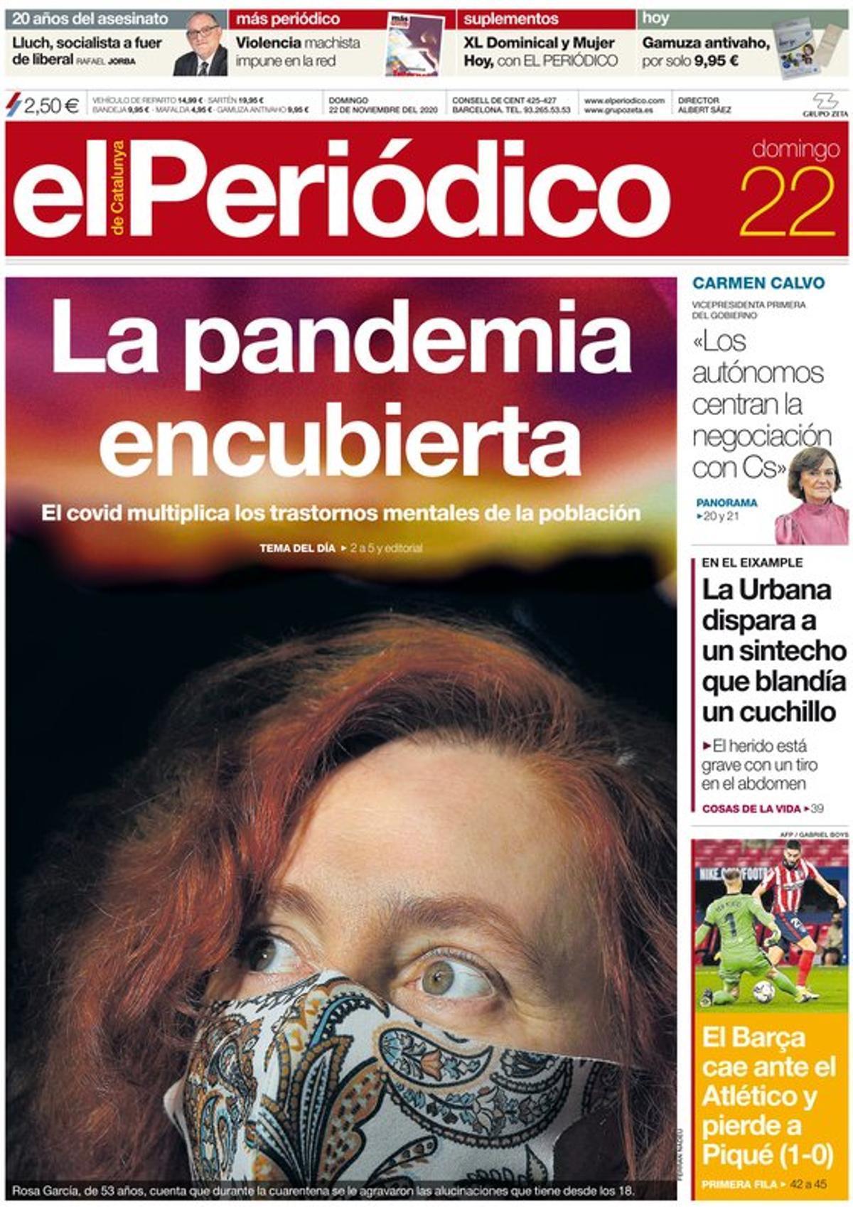 La portada de EL PERIÓDICO del 22 de noviembre del 2020