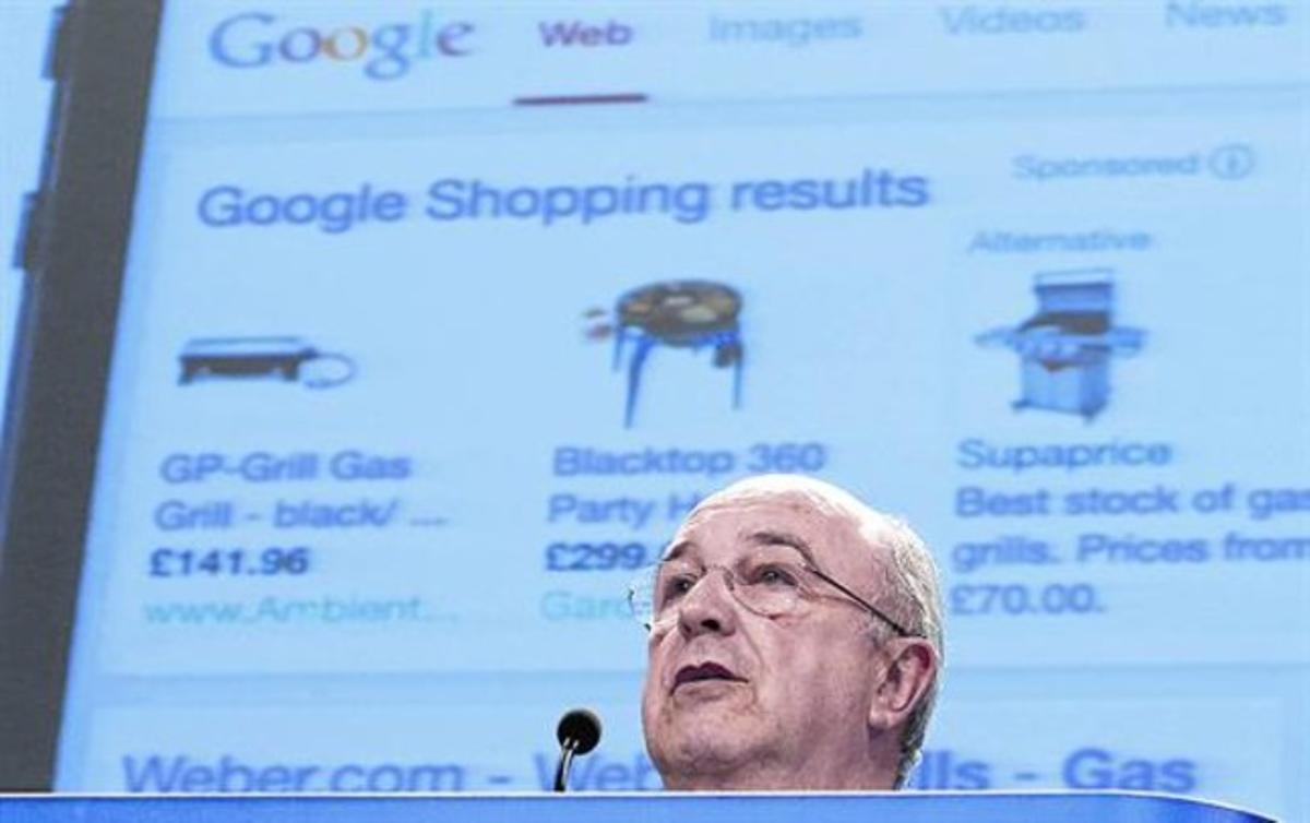 Almunia explica en Bruselas las concesiones ofrecidas por Google, ayer.