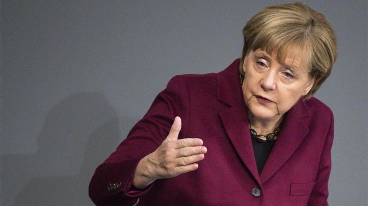 La cancillera alemana, Angela Merkel, durante un discurso en el Bundestag, en Berlín, este viernes.