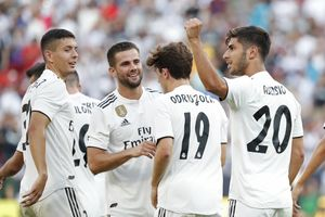 Aug 4  2018  Landover  MD  USA  Real Madrid midfielder Marco Asensio  20  celebrates with teammates after scoring a goal against Juventus in the second half during an International Champions Cup soccer match at FedEx Field  Real Madrid won 3-1  Mandatory Credit  Geoff Burke-USA TODAY Sports