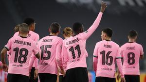 Dembélé celebra el gol que supuso el 0-1 del Barça a la Juventus.