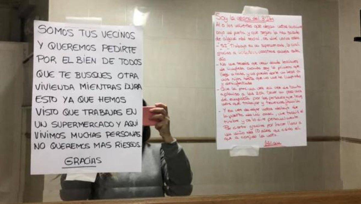 La réplica de Miriam y la nota de sus vecinos, en su Facebook.