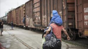 Migrantes centroamericanos a su paso por México.