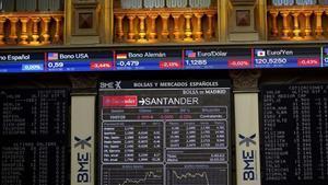 Paneles indicadores dela Bolsa de Madrid.