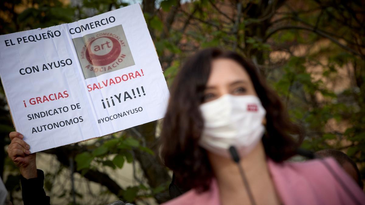 Isabel Díaz Ayuso, en un acto electoral en Parla (Madrid).