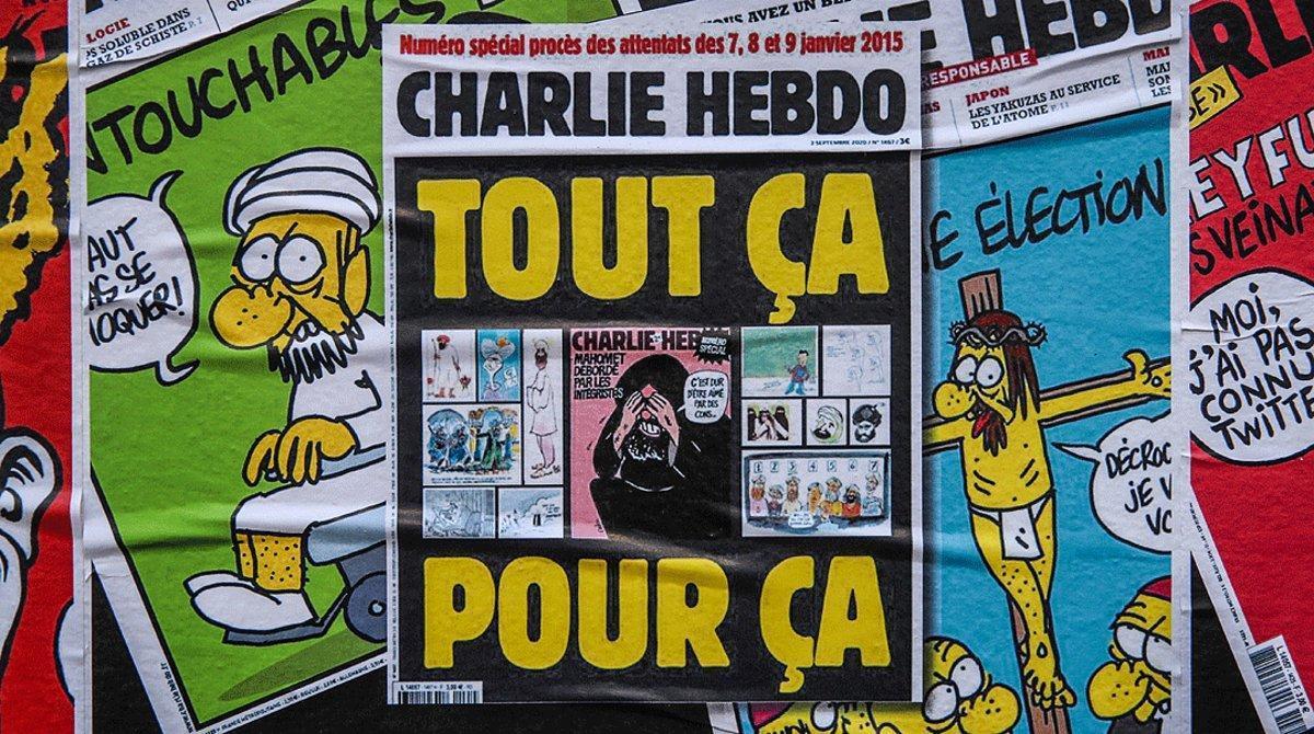 Algunos ejemplares de la revista satírica francesa 'Charlie Hebdo'.