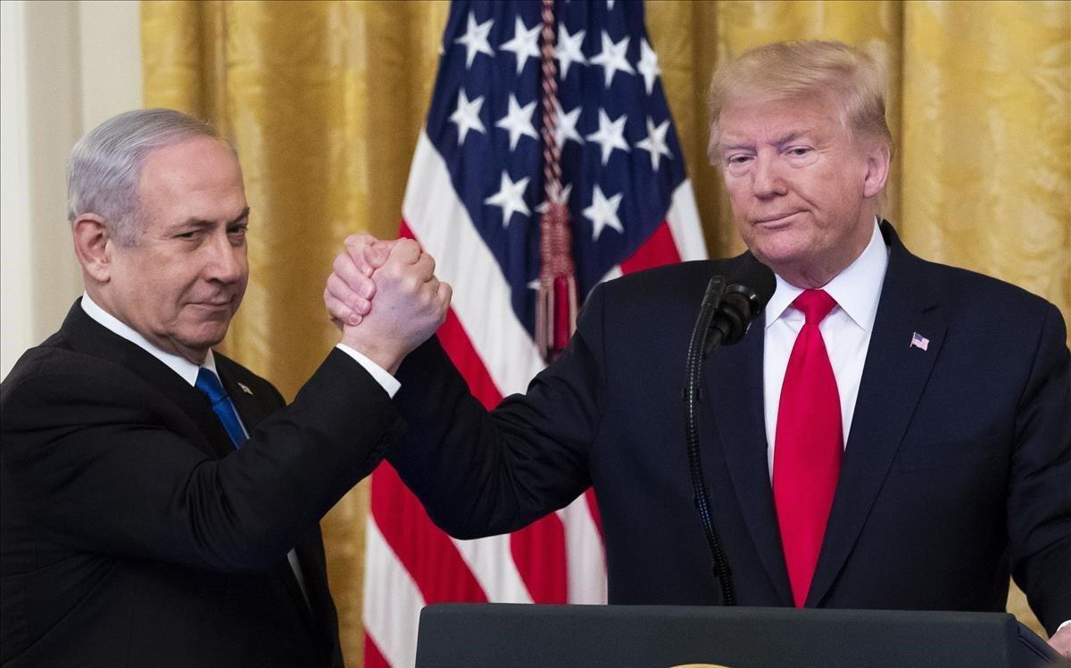 Netanyahu y Trump tras presentar el plan de paz.
