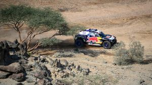 El coche de Carlos Sainz, en un momento de la etapa prólogo
