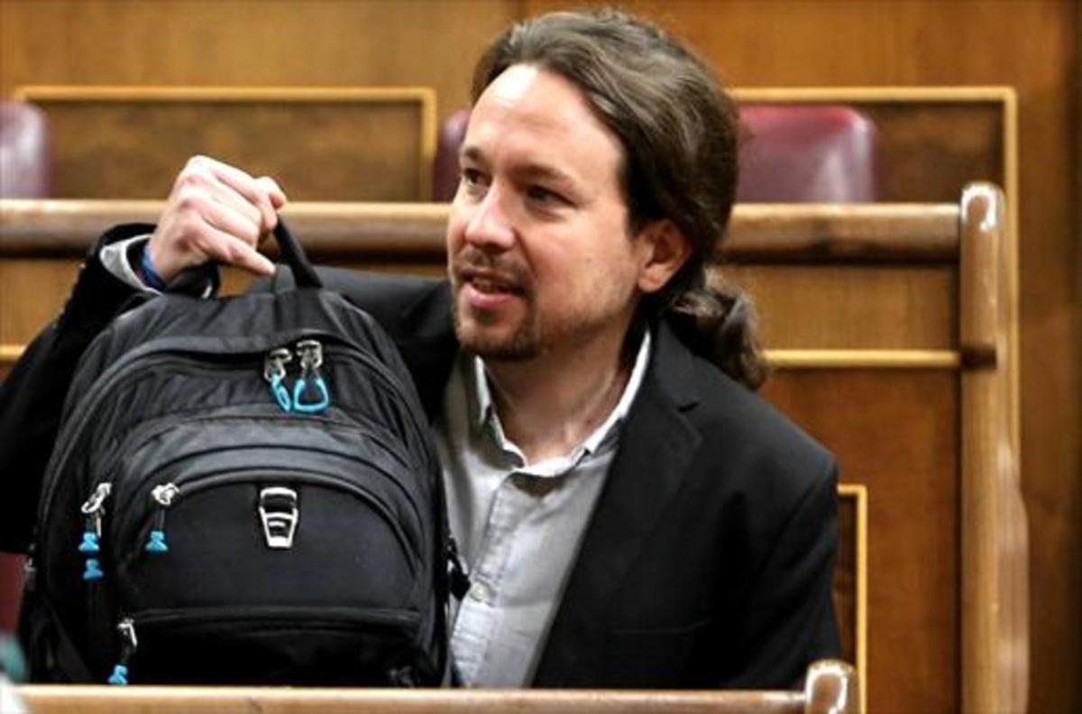 Pablo Iglesias, ayer, en el pleno del Congreso.