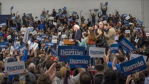 El candidato Bernie Sanders en Manchester, NuevaHampshire.