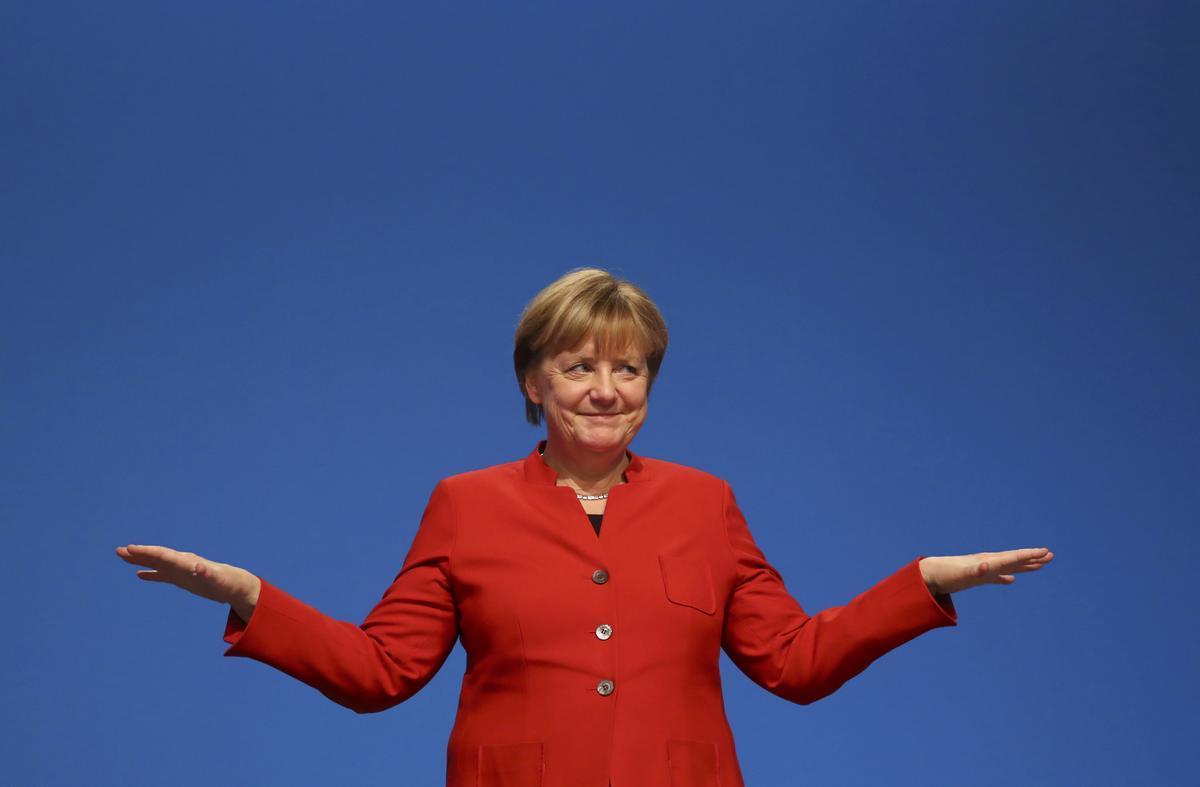 La cancillera alemana Angela Merkel tras intervenir en una convención de la CDU en Essen, Alemania, en diciembre del 2016.