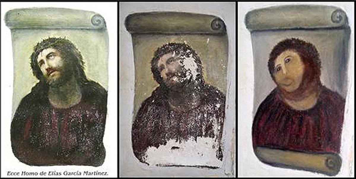 El eccehomo de la iglesia del Santuario de Misericordia de Borja (Zaragoza), antes y después de la desastrosa restauración.