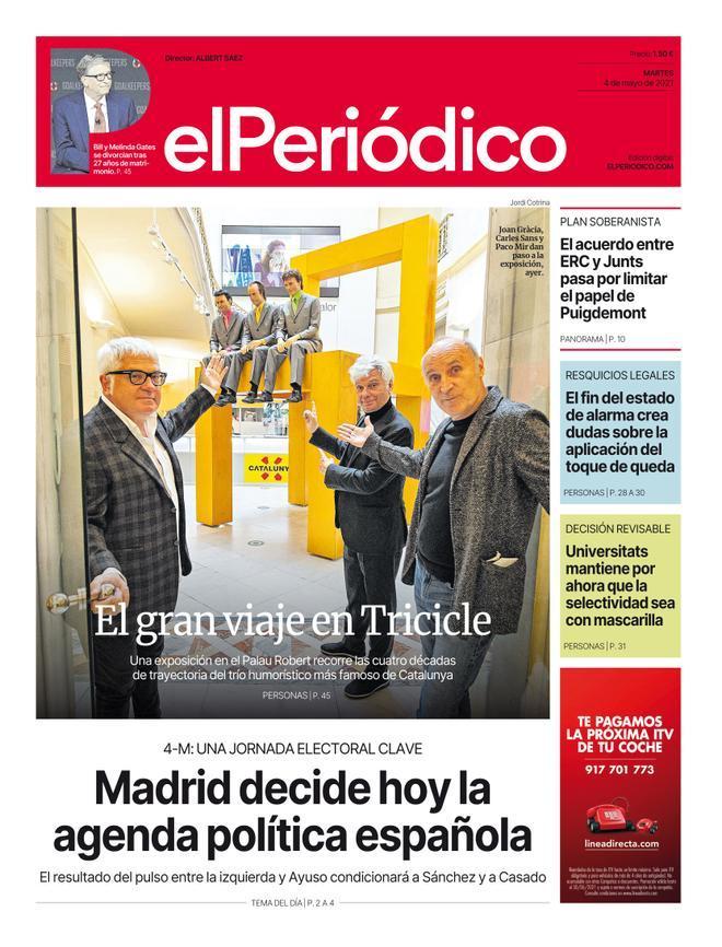 La portada d'EL PERIÓDICO del 4 de maig del 2021